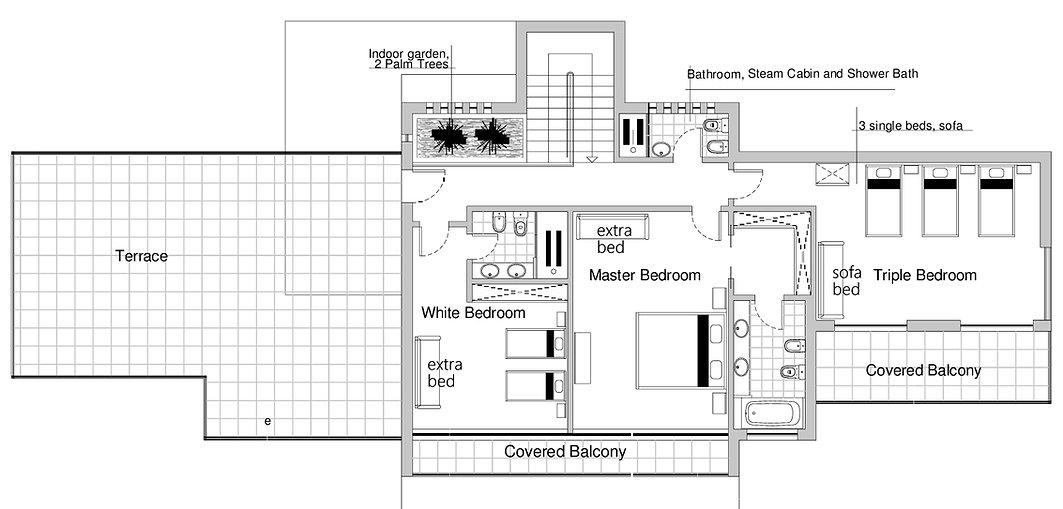 First floor plan of Casa do Lago Holiday Villa, Foz d Arelho, Portugal