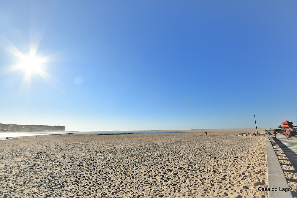 The vast Foz do Arelho beach in a winter day, Silver Coast, Portugal