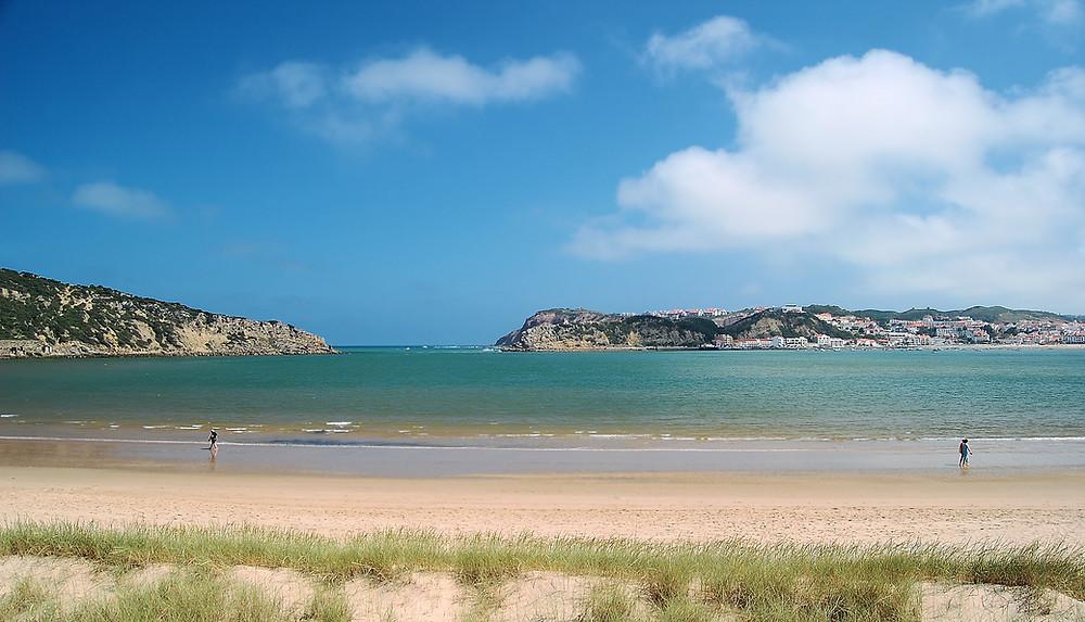 The beach of Sao Martinho do Porto, Silver Coast, Portugal