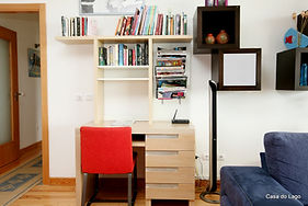 library and desk: luxury family villa to rent