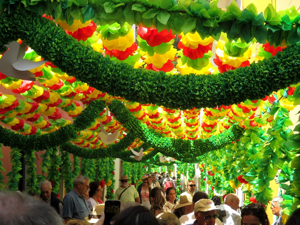 Street decoration of the Tabulleiros Festivities in Tomar, Portugal