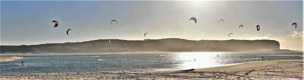 Obidos Lagoon, a kitesurf paradise, in front to Casa do Lago, holiday  villa