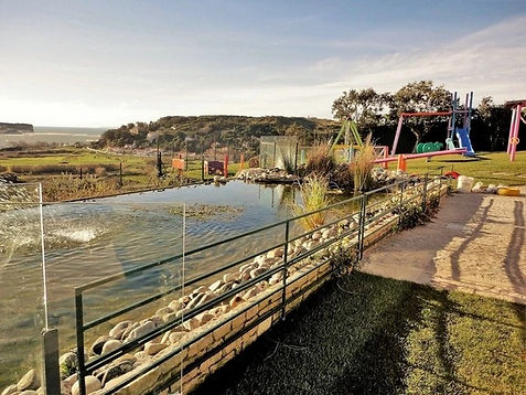 Pond at the luxury villa for families portugal