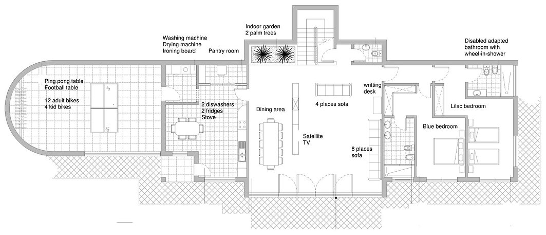 Ground floor plan of Casa do Lago Holiday Vila, disabled friendly accommodation