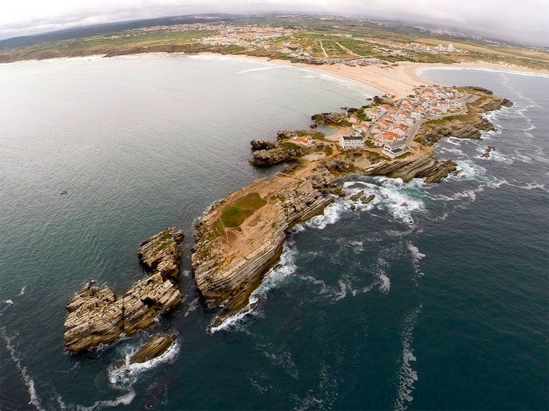 Baleal former Island and village, linked to the continent by the beach behind