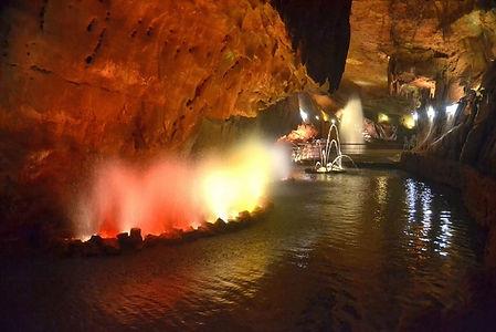 underground lake beautifully illuminated