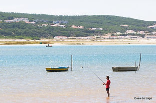 Obidos Lagoon, calm salt water beach