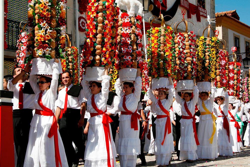 Traditional festivities in Tomar, Portugal: festa dos tabuleiros
