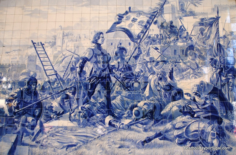 historical scene reproduced in old tiles