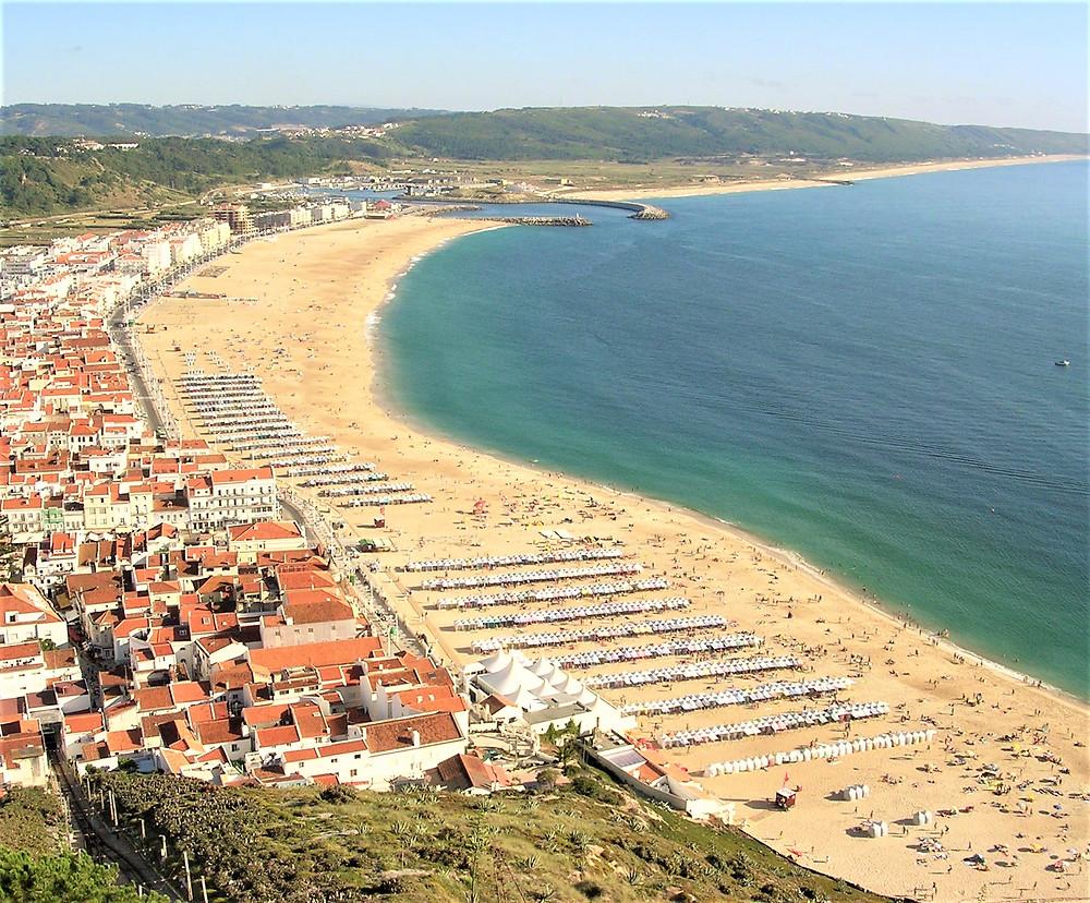 Nazareth beach viewed from the Sitio, Silver Coast, Portugal
