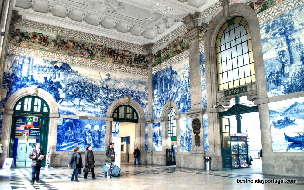 Tiles art in a railway station at Porto, Portugal