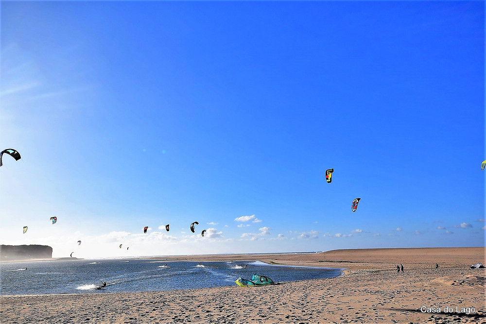 Local kite surf school in activity at Foz do Arelho, Portugal