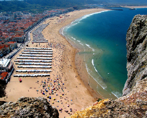 The beach of Nazare viewed from the Sitio, near to the holiday villa in portugal: casa do lago