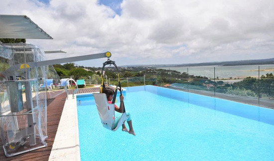 disabled villa portugal, pool hoist