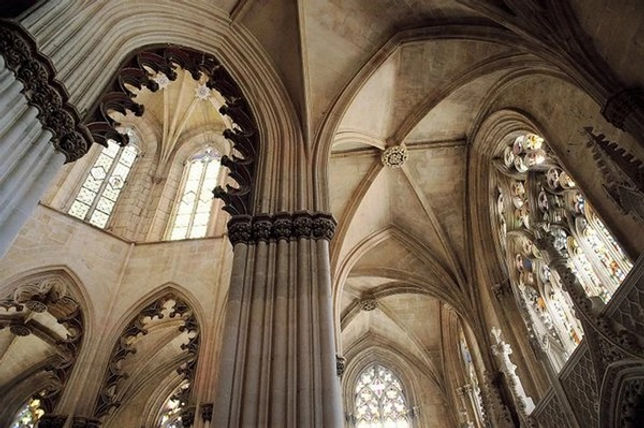 beautiful detail of some domes in the batalha monastery, a masterpiece of medieval architecture