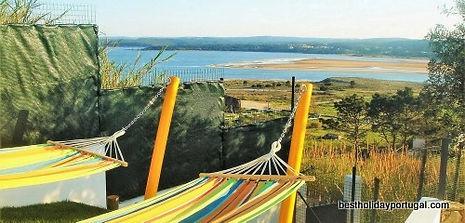 hammocks in the garden of this family holidays villa Portugal