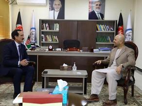 دیدار رئیس پوهنتون دنیا با سید سعادت منصور نادری وزیر دولت در امور صلح