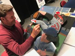 Jim Palmer signing painting