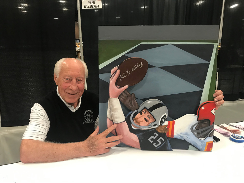 Fred Biletnikoff with painting