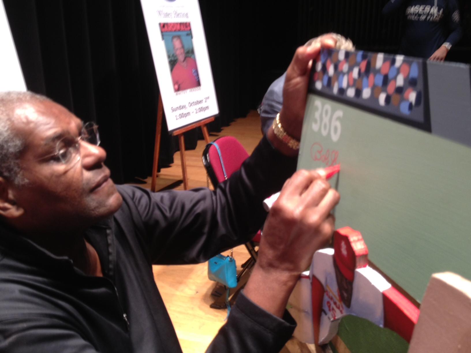 Bob Gibson signing painting