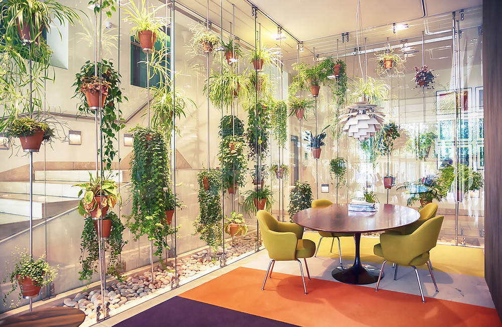 tons of vertical plants in dining room