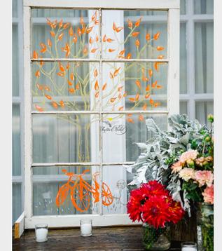 Hand Drawn Wedding Window Artwork