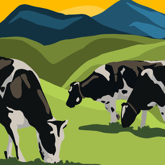 Cow Herd Textile Wall - Concept Art