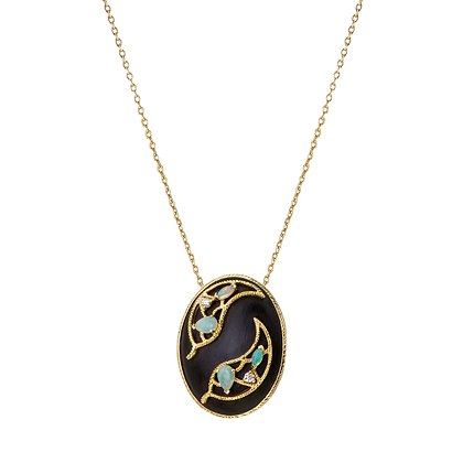 Olivier Collier Ébène Grand modèle en or 18k serti d'opales et diamants