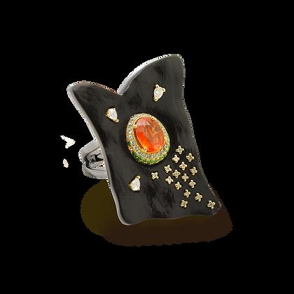 "Terre Bague ""Terre d'Onyx"" en or 18k sertie d'un saphir orange et diamants"
