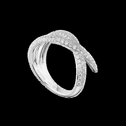 Duality Bague / Alliance Grand modèle en or 18k sertie de diamants