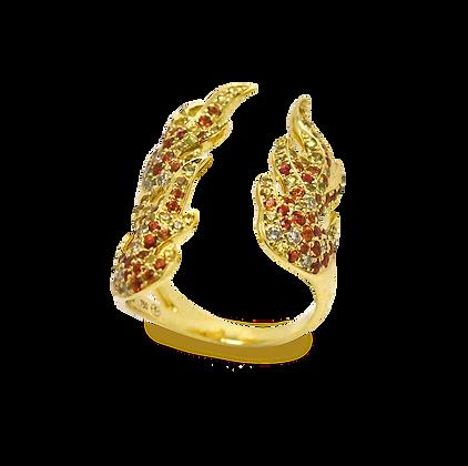 Flamme Bague ouverte en or jaune 18k sertie de saphirs et diamants