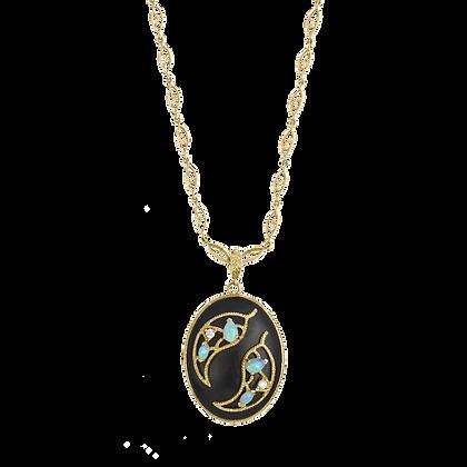 Oliver Pendentif Ébène en or 18k serti de diamants et opales