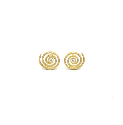 Spirale Boucles d'oreilles / Puces en or 18k serties de deux diamants