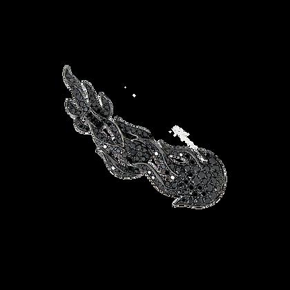 Flamme Boucle d'oreille / Mono en or 18k sertie de diamants noirs