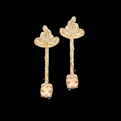Miscible Boucles d'oreilles en or rose 18k serties de saphirs roses et diamants