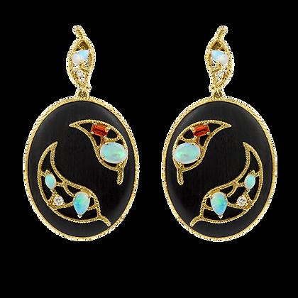 Olivier Boucles d'oreilles Ébène en or 18k serties d'opales, diamants et saphirs