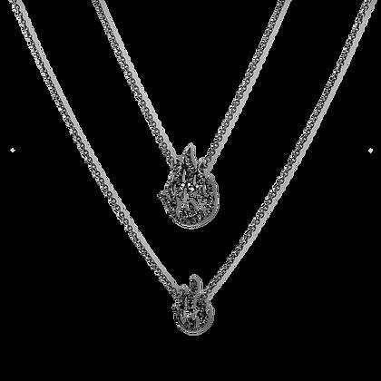 Flamme Collier double en or 18k serti de diamants noirs