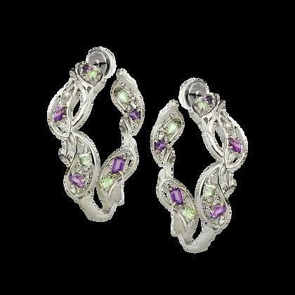 Olivier Boucles d'oreilles / Créoles en or 18k serties de diamants et améthystes