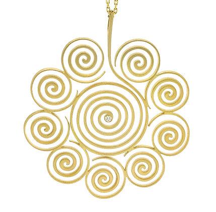 Spirale Pendentif / Sautoir Grand modèle en or 18k serti d'un diamant
