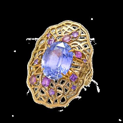 """Olivier Bague """"Saphir Bleu"""" en or rose 18k sertie de saphirs violets"""