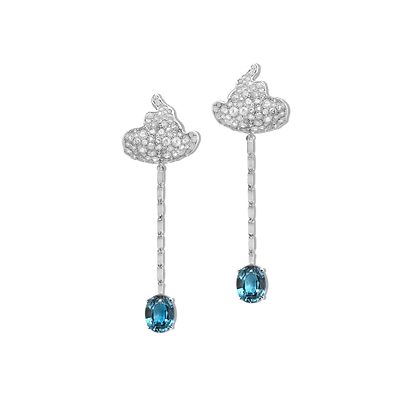 Miscible Boucles d'oreilles en or blanc 18k serties de saphirs et diamants ice