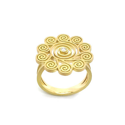 "Spirale Bague ""Marguerite"" en or 18k sertie d'un diamant"