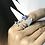 Thumbnail: Miscible Bague en or noir 18k sertie d'un saphir bleu et diamants noir