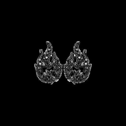 Flamme Boucles d'oreilles / Puces en or 18k serties de diamants noirs