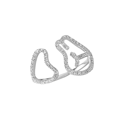 Empreinte Bague ouverte en or 18k sertie de diamants