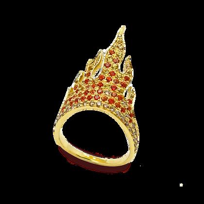 Flamme Bague en or jaune 18k sertie de saphirs et diamants