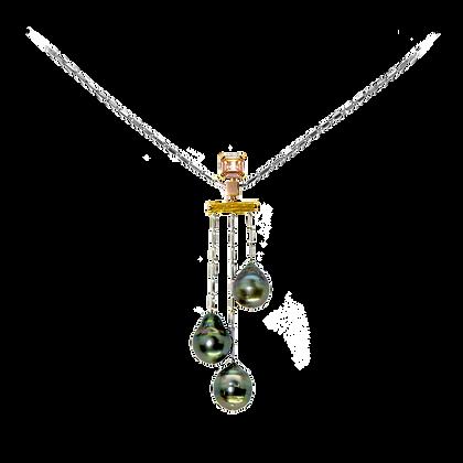 Méditation aux trois perles Pendentif en or 18k serti de saphirs et diamants
