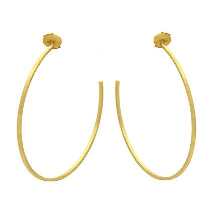 Spirale Boucles d'oreilles Créoles en or 18k serties de deux diama