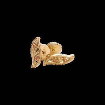 Olivier Boucles d'oreilles / Puces Petites feuilles jaunes en or 18k