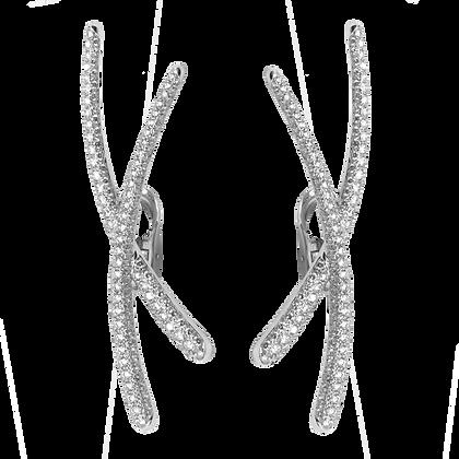 Duality Boucles d'oreilles Très grand modèle en or 18k serties de diamants